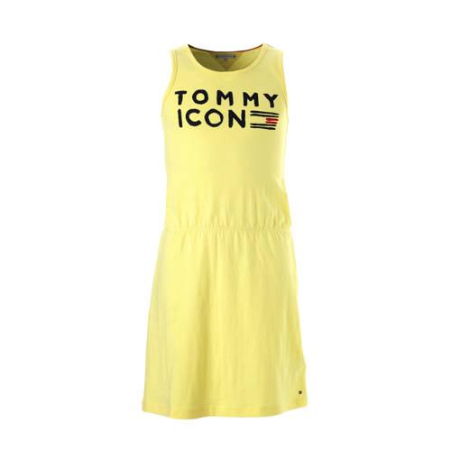 Tommy Hilfiger mouwloze jurk met logo lichtgeel kopen