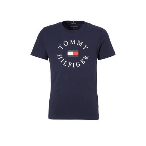 Tommy Hilfiger T-shirt met logo donkerblauw kopen