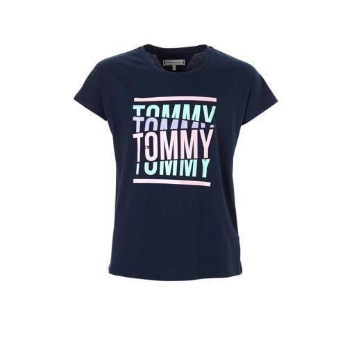 Tommy Hilfiger T-shirt met groot logo donkerblauw kopen