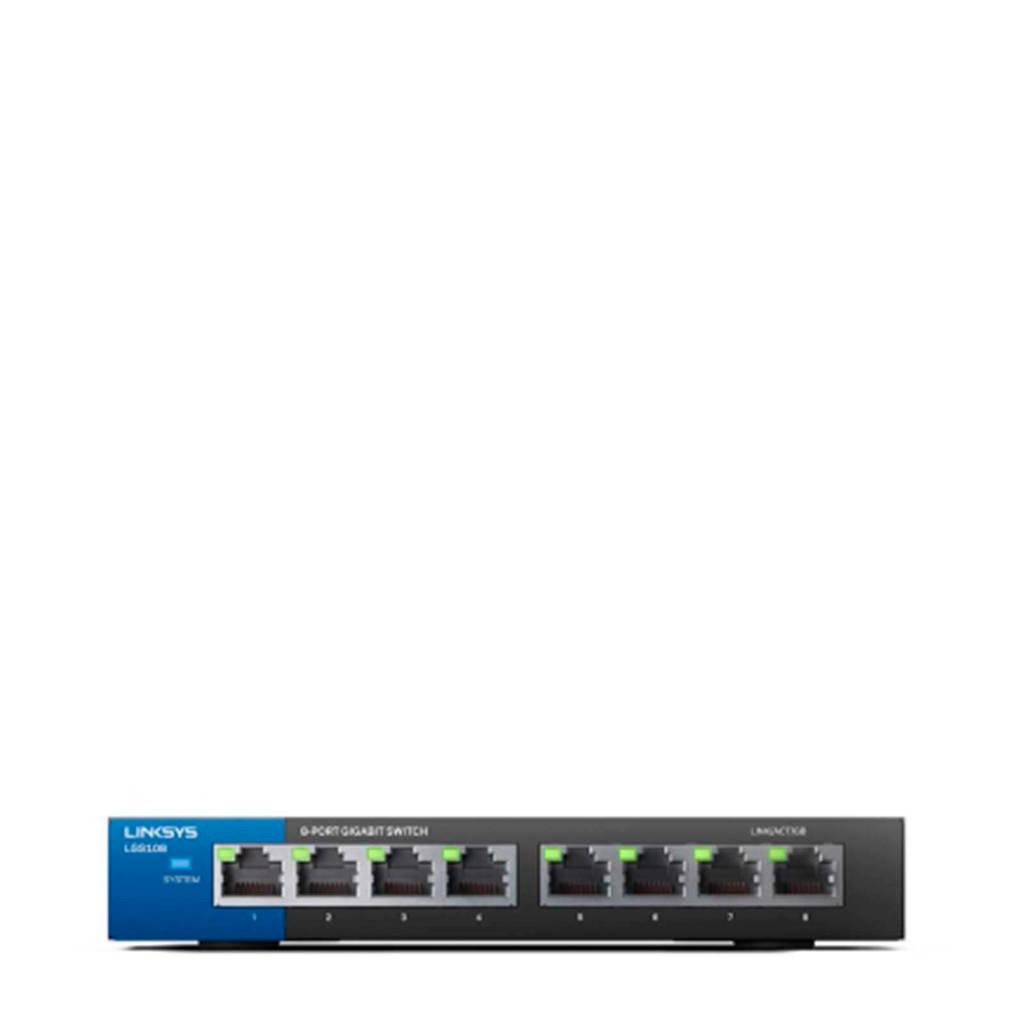 Linksys  netwerk switch LGS108-EU-RTL, Zwart, Blauw