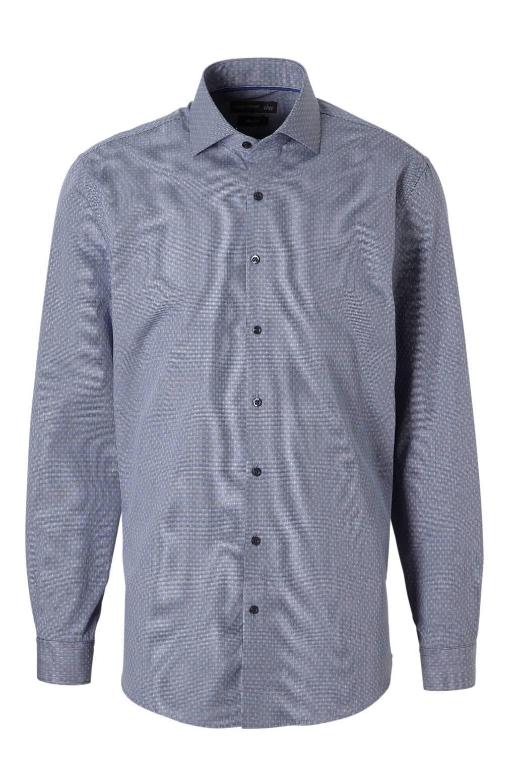 C&A Angelo Litrico slim fit overhemd met print blauw, Blauw