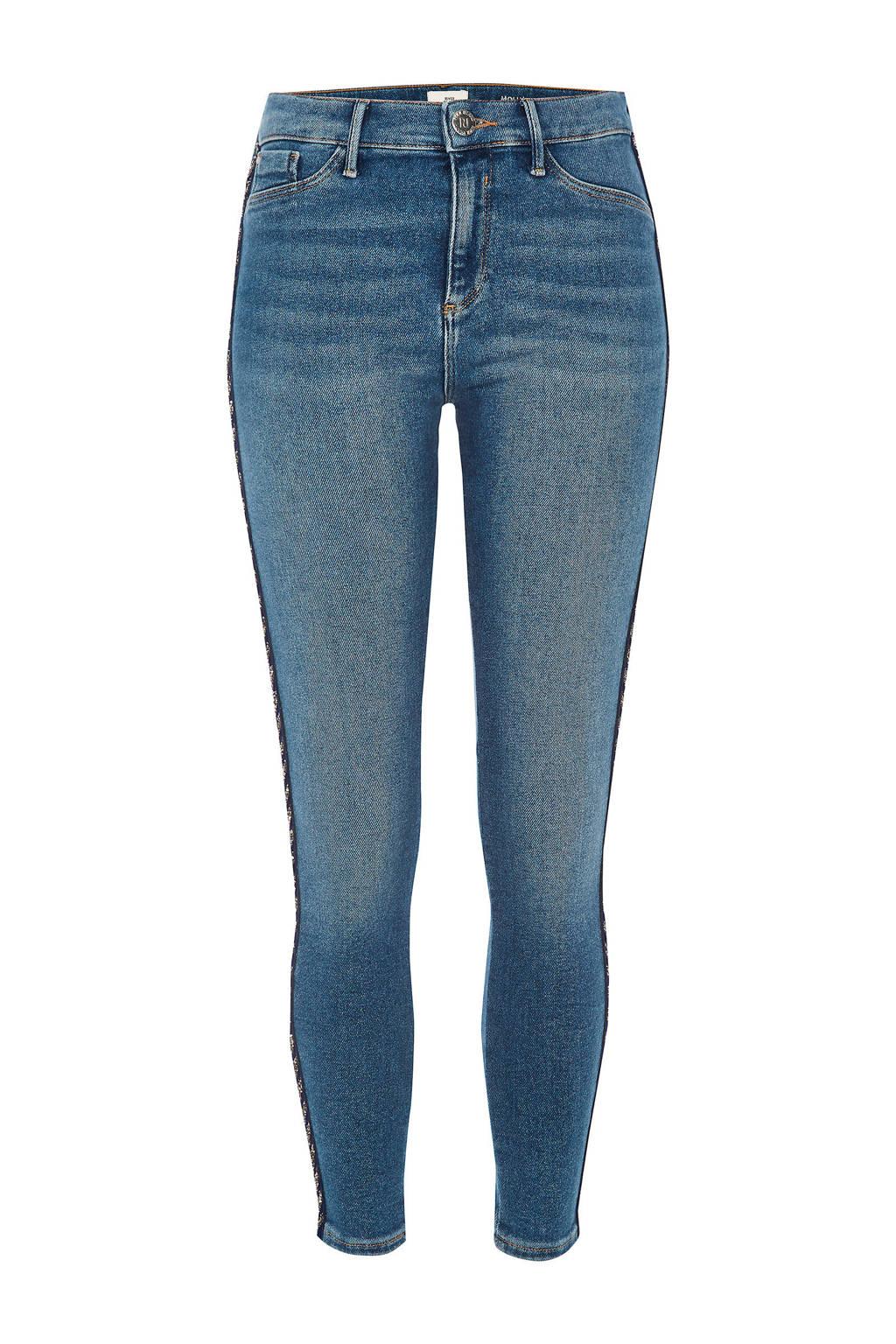 River Island skinny jeans Molly met bies, Blauw