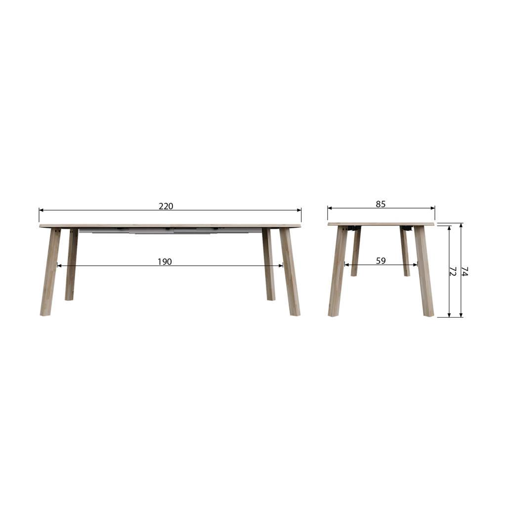 Lange Uitschuifbare Eettafel.Woood Exclusive Uitschuifbare Eettafel Lang Jan 140 220cm
