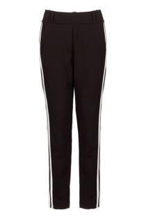 La Ligna broek met zijstreep zwart