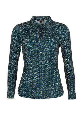blouse met allover print petrol