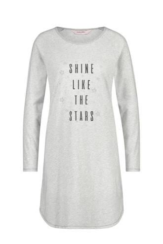 gestreept nachthemd met tekstopdruk grijs