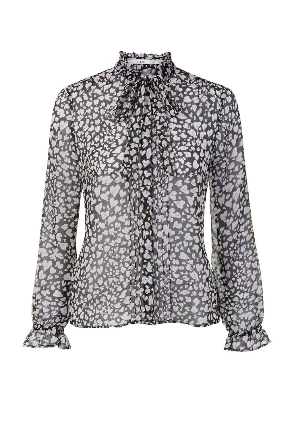 Steps chiffon blouse met all-over print, Zwart