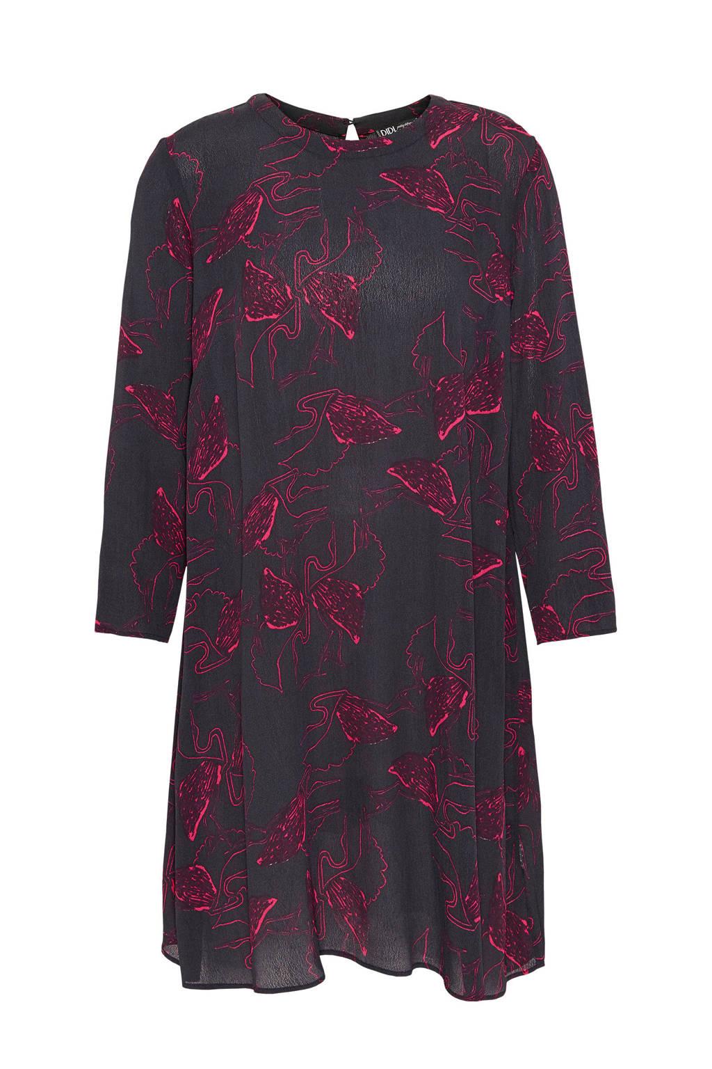 Didi jurk met flamingo print, Antraciet