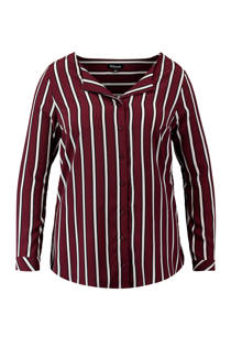 MS Mode gestreepte blouse donkerrood/wit (dames)