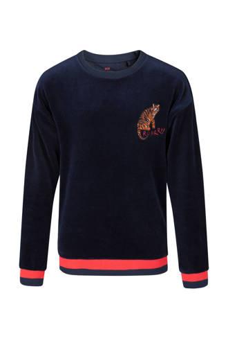 fluwelen sweater met tijger blauw