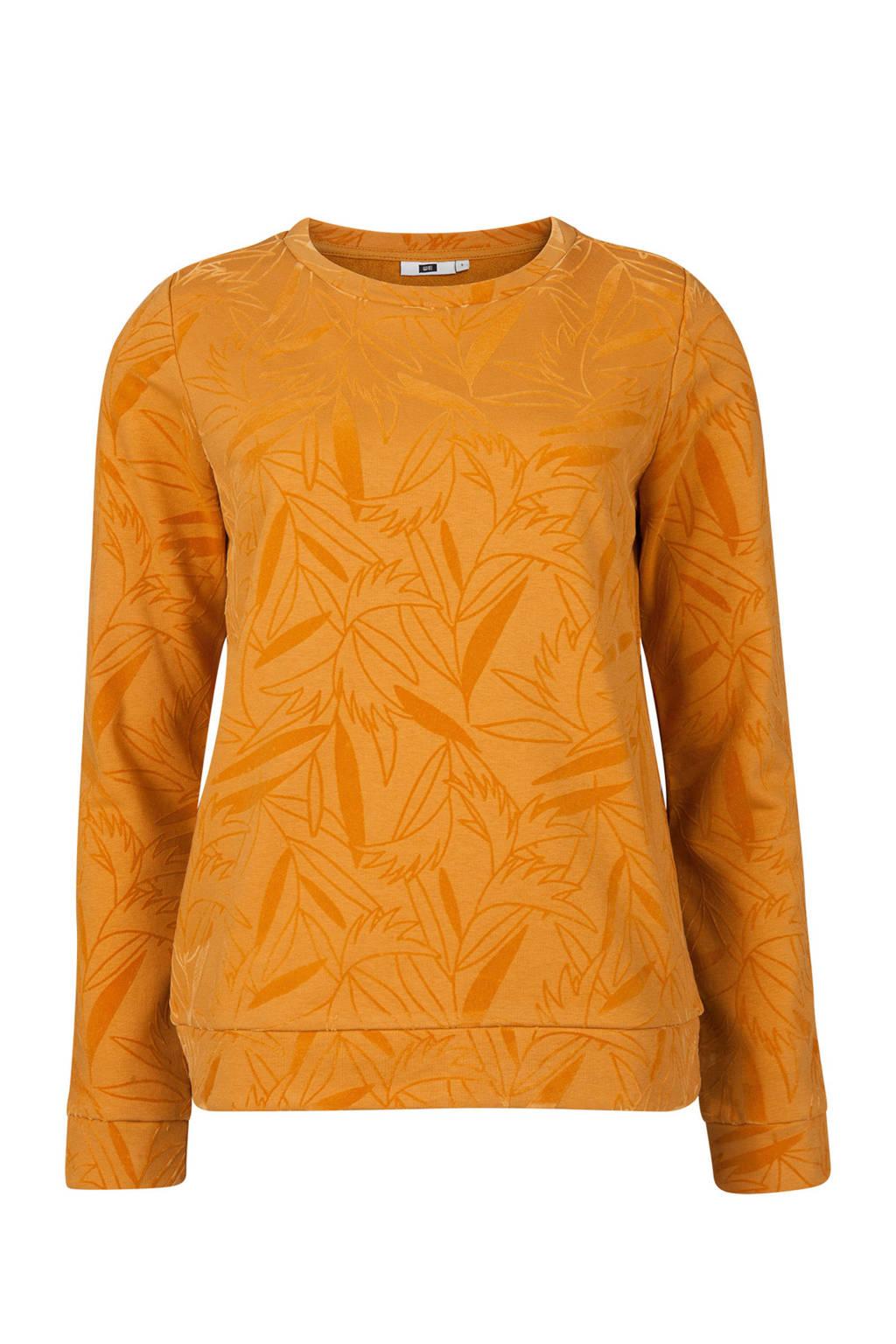 WE Fashion trui met fluweel print, Geel