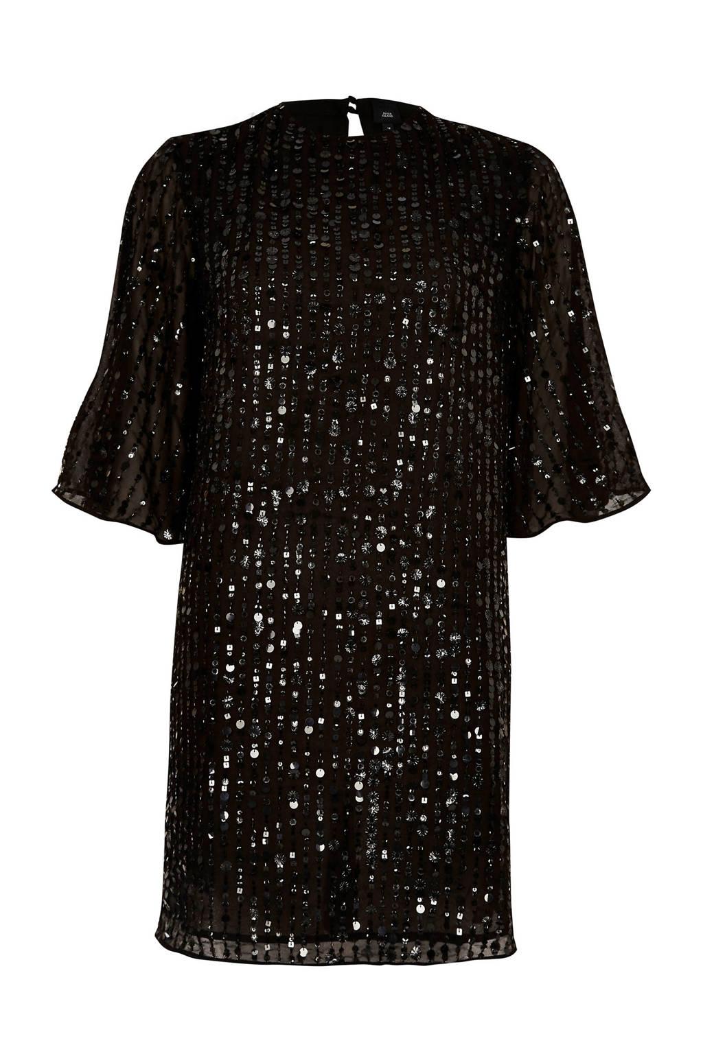 River Island jurk met pailletten, Zwart