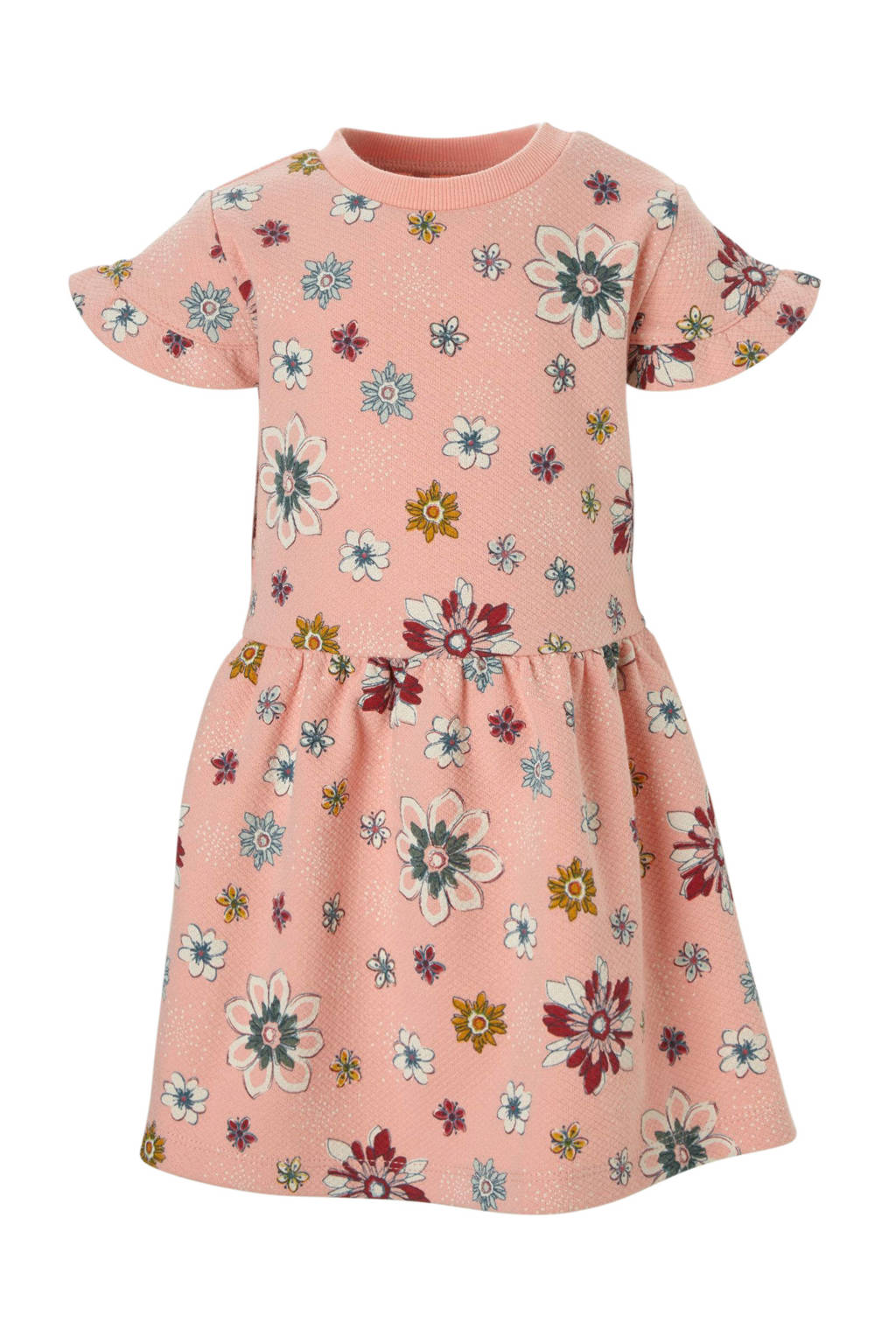 Small Rags jurk met bloemenprint, Koraalrood