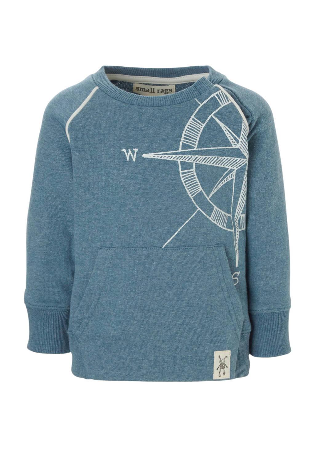 Small Rags sweater, vergrijsd blauw