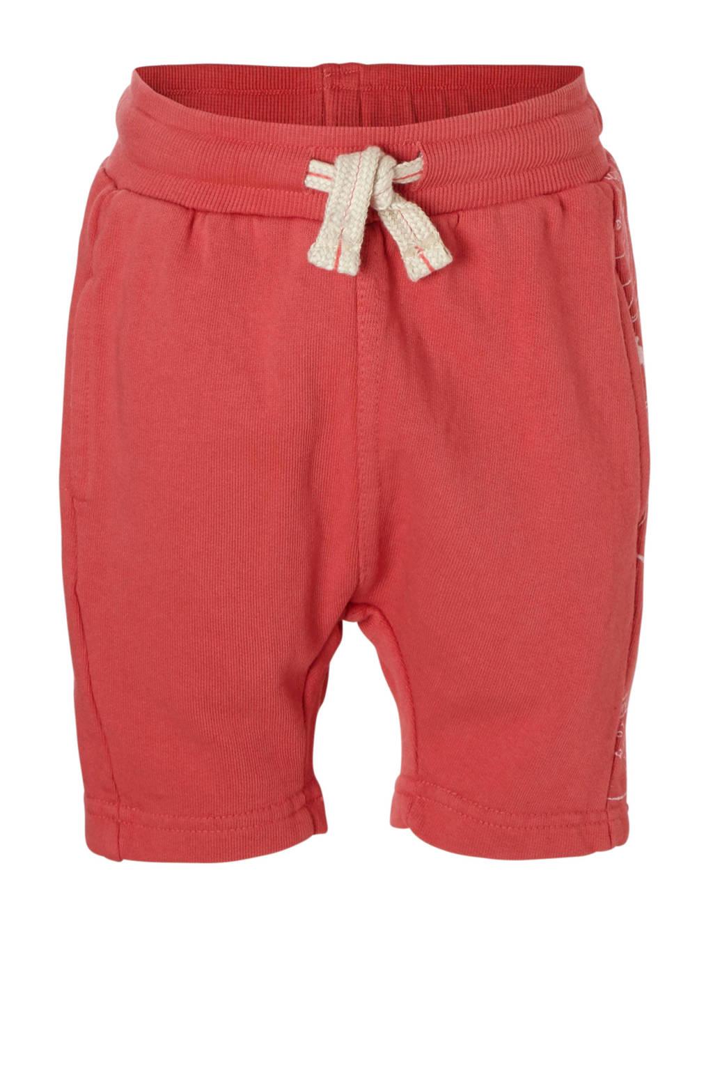 Small Rags sweatshort met zijstreep rood, Rood