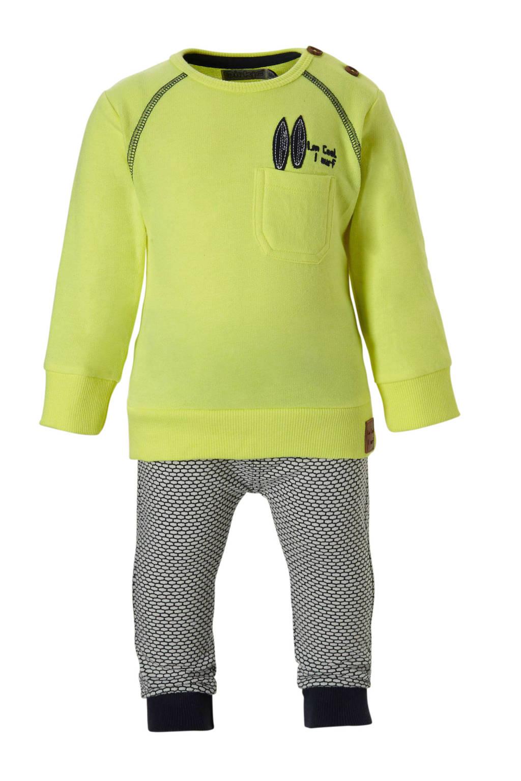 Dirkje newborn baby sweater + joggingbroek, Geel/ marine/ wit
