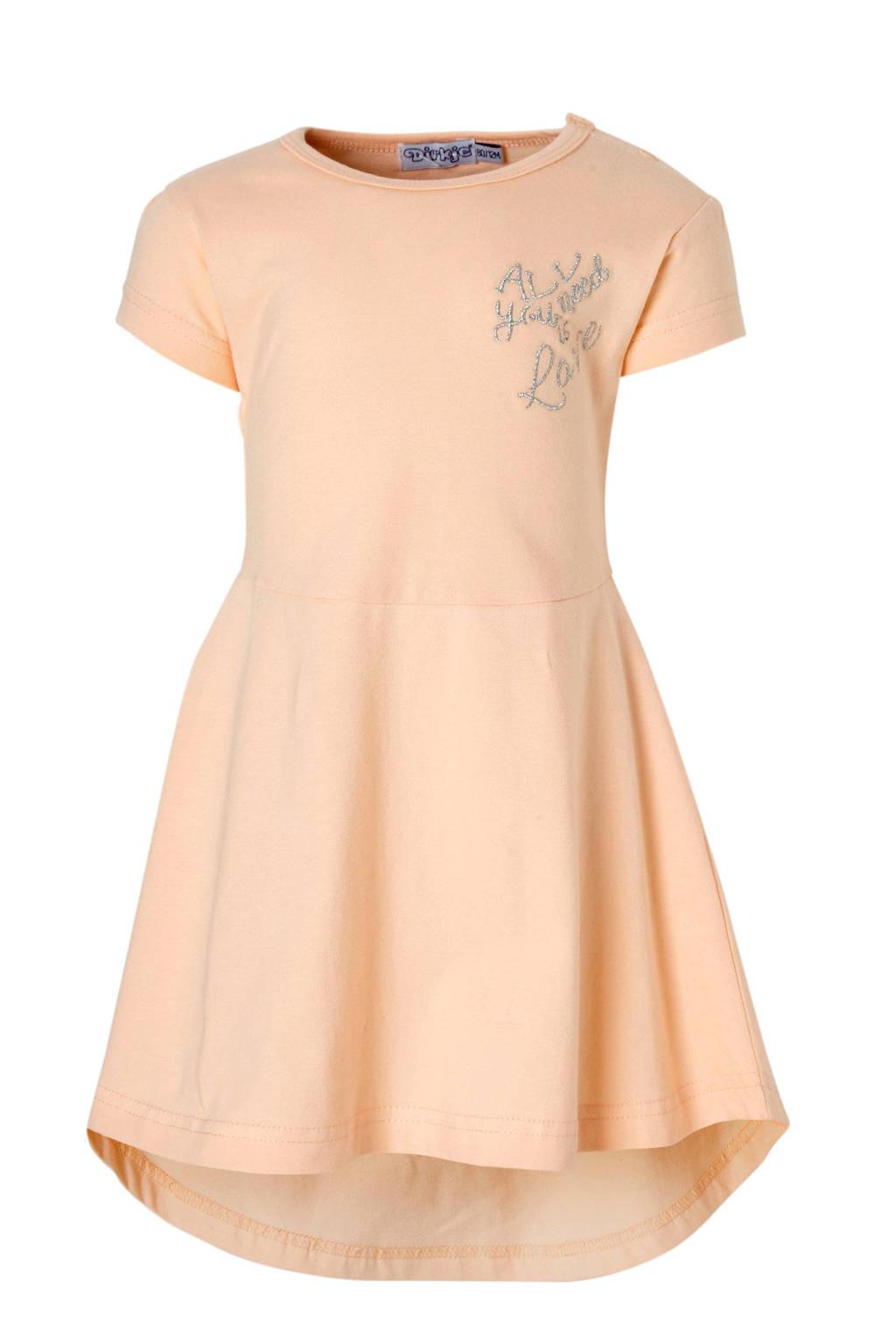 Dirkje jersey jurk met tekst lichtoranje, Lichtoranje