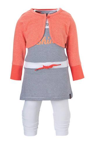 gestreepte jurk + bolero + legging