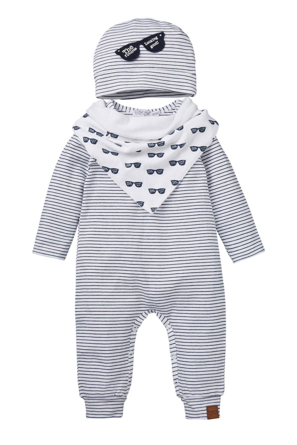 Dirkje newborn baby boxpak + muts + bandanaslab, Marine/wit