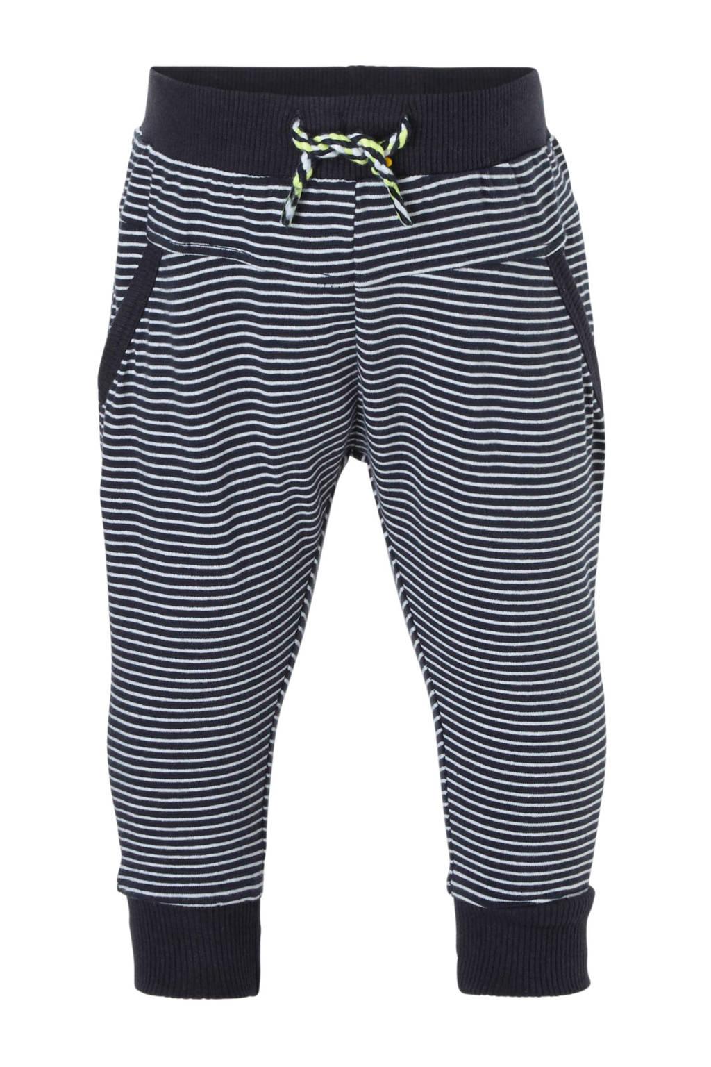 Dirkje   gestreepte joggingsbroek blauw, Donkerblauw/wit