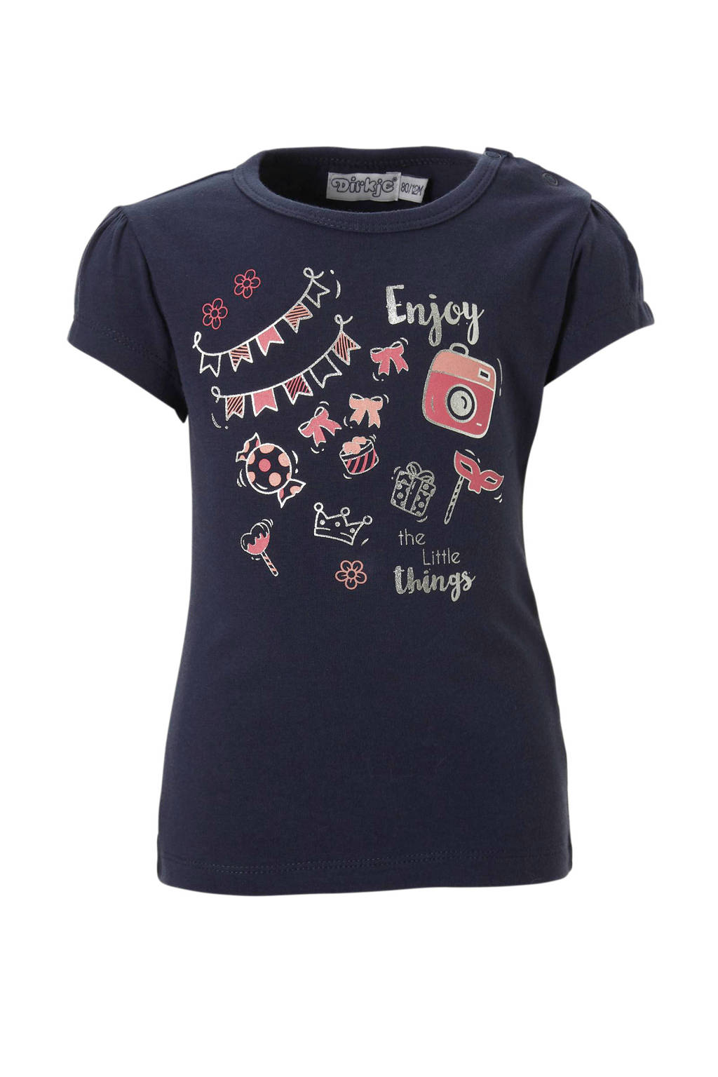 Dirkje T-shirt met print - marine, Marine/ roze