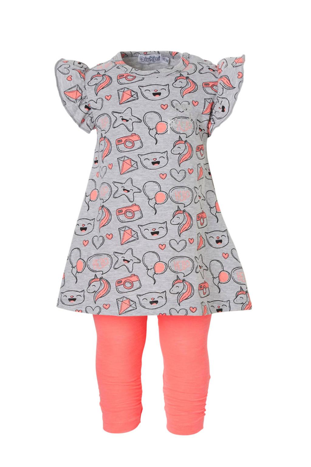Dirkje baby jurk + legging met neon roze, Grijs melange/ neon roze
