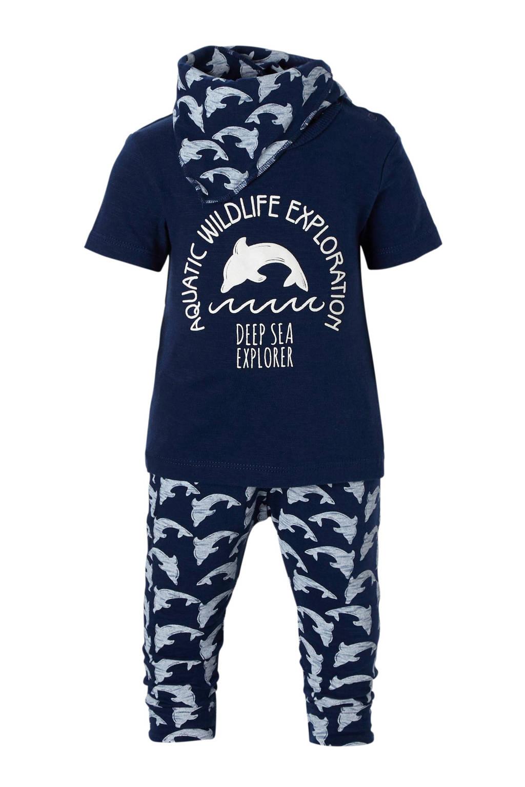Dirkje newborn baby T-shirt + broek + sjaal, Marine/ lichtblauw