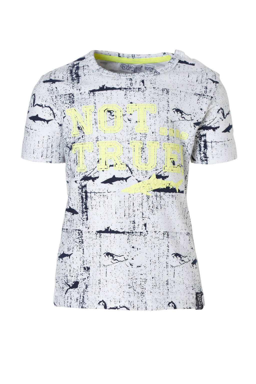Dirkje T-shirt met tekst, marine/ wit