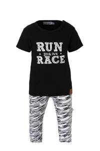 Dirkje baby T-shirt + broek + sjaal met strepen, zwart/ wit