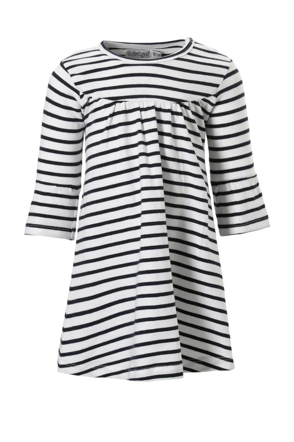 Dirkje jurk met strepen, Wit/ marine