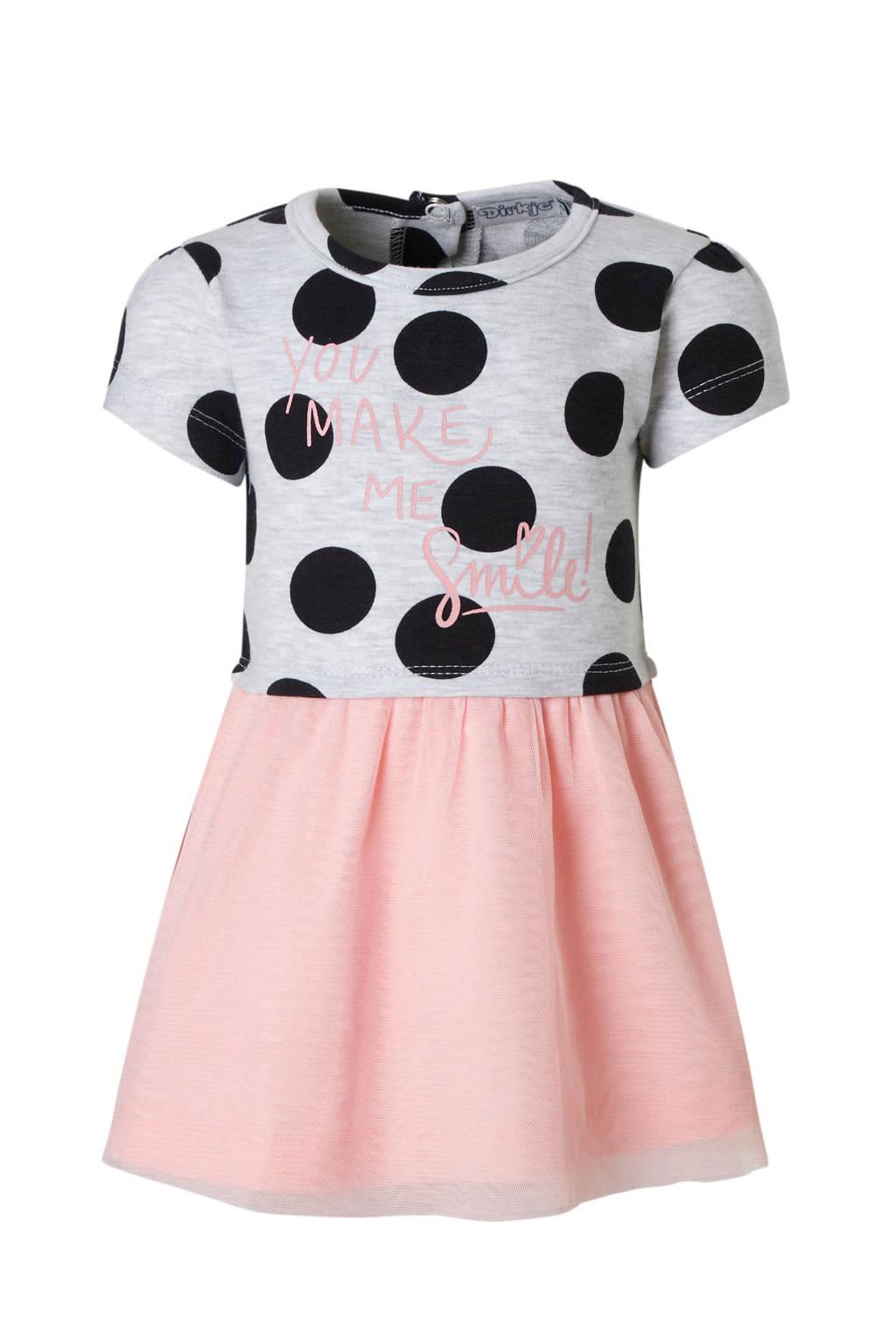 Dirkje jurk met stippen, Grijs/ marine/ roze