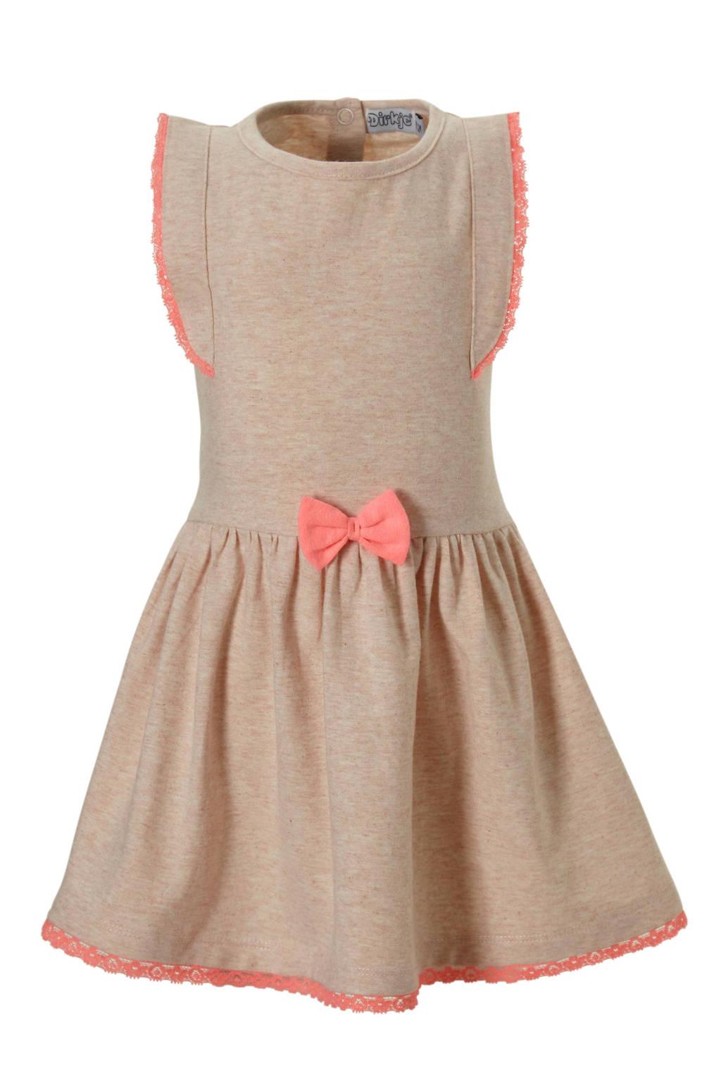 Dirkje jurk met strik, Perzik melange