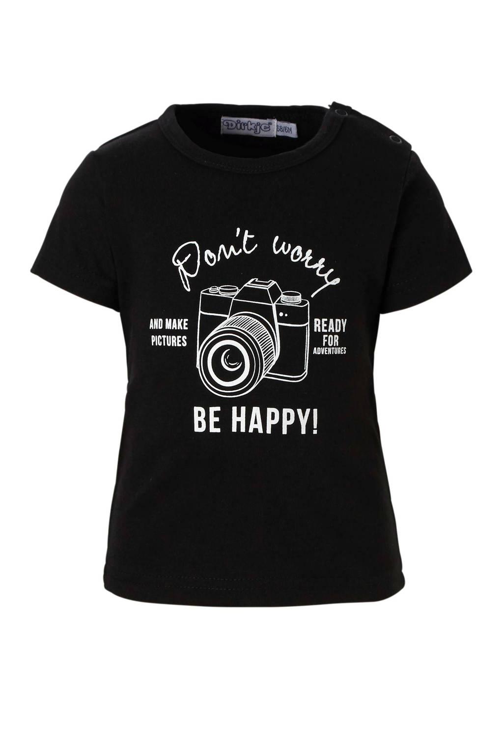 Dirkje T-shirt met print, Zwart