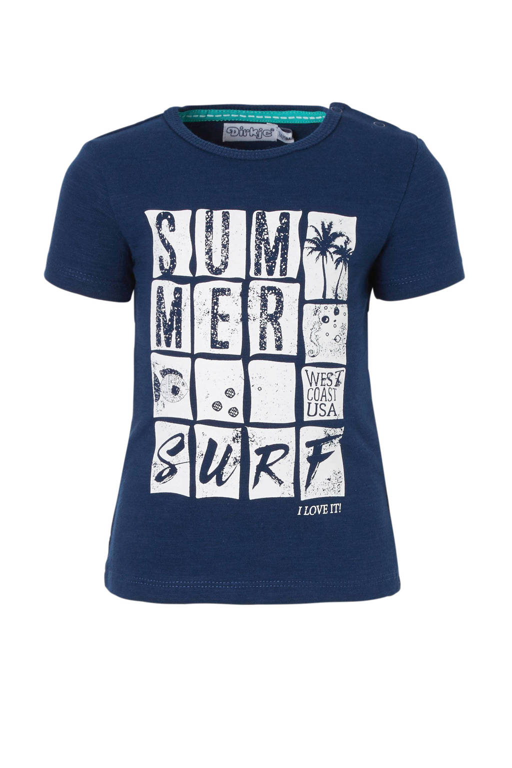 Dirkje T-shirt met print donkerblauw, Donkerblauw
