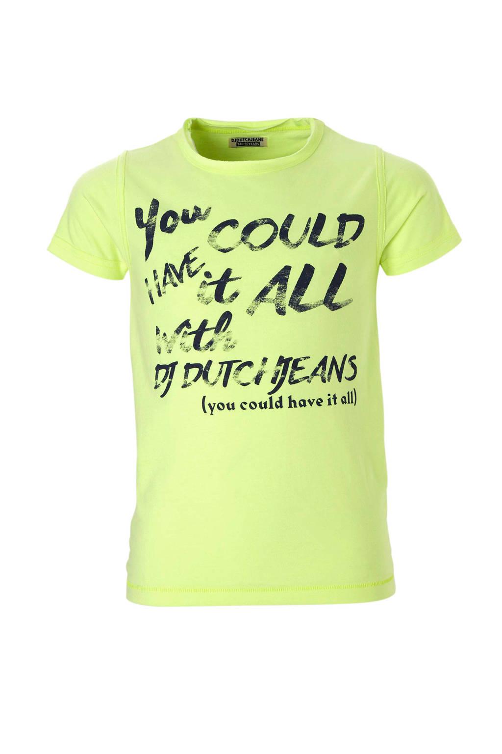 DJ Dutchjeans T-shirt met letterprint, Neon geel
