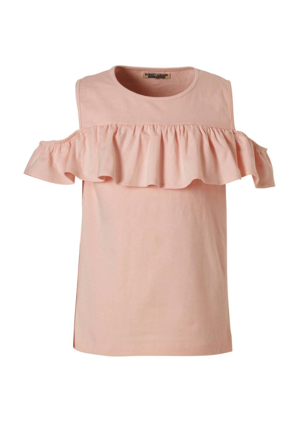 DJ Dutchjeans open shoulder T-shirt, Roze
