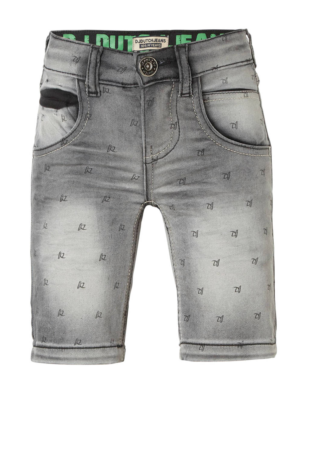DJ Dutchjeans jeans bermuda met all over print, Grijs
