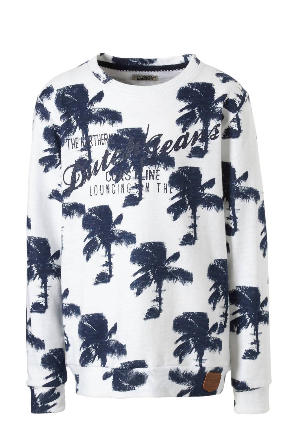 DJ Dutchjeans sweater met palmbomenprint, Wit/ marine