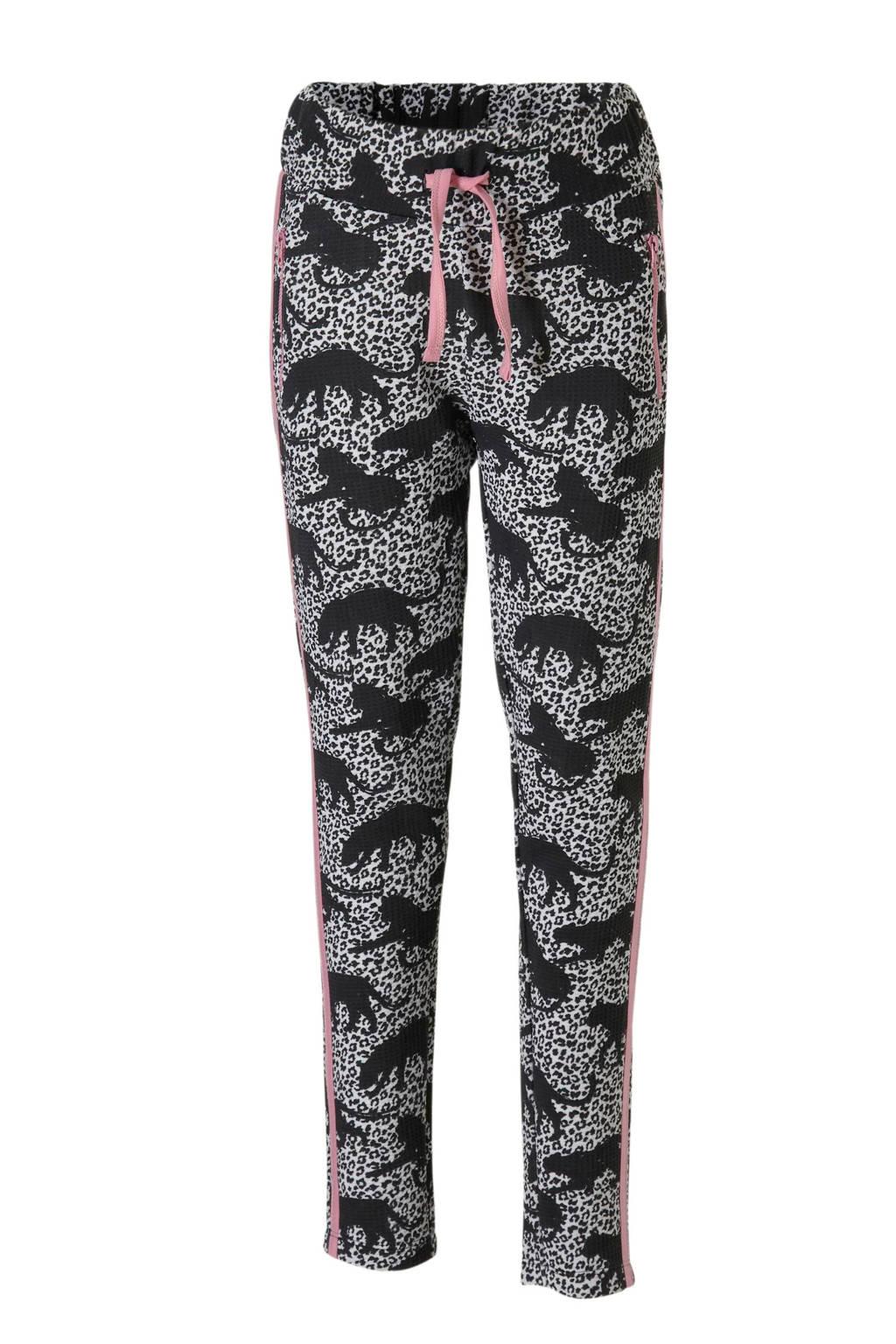 DJ Dutchjeans broek met allover print zwart, Zwart/roze