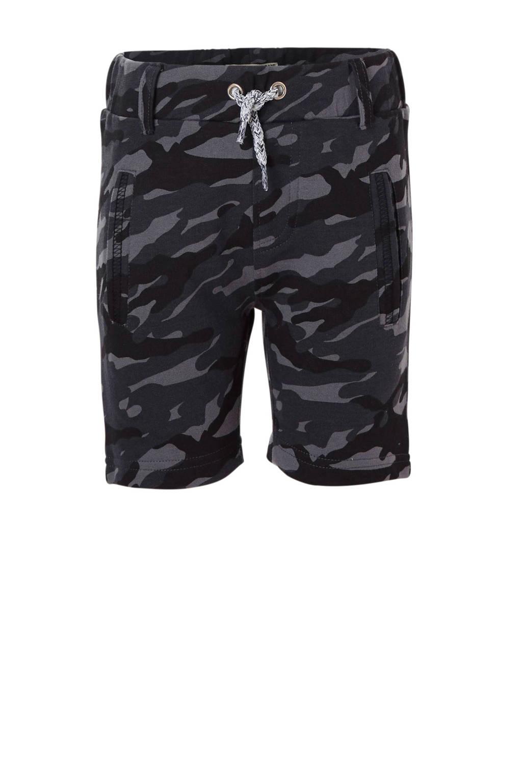 DJ Dutchjeans sweatshort met camouflageprint zwart/ grijs