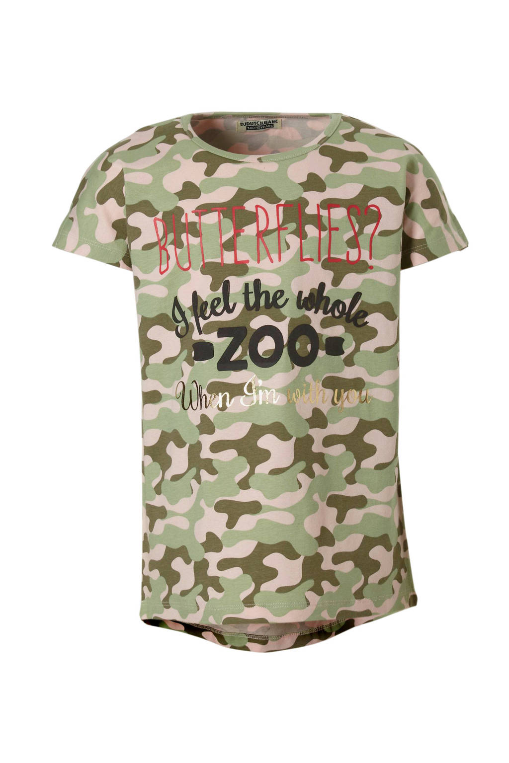 DJ Dutchjeans T-shirt met camouflageprint, Groen/ lichtroze