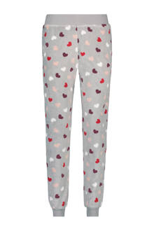 fleece pyjamabroek in all over print grijs