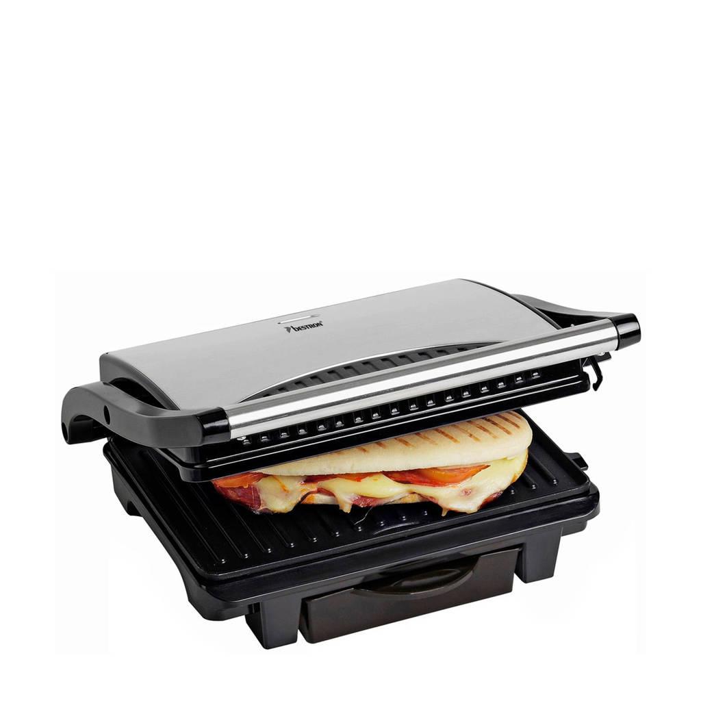 Bestron ASW113S panini grill, Metallic