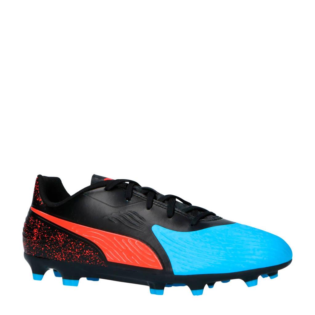 Puma   Puma One 19.4 FG/AG voetbalschoenen, Zwart/blauw/rood