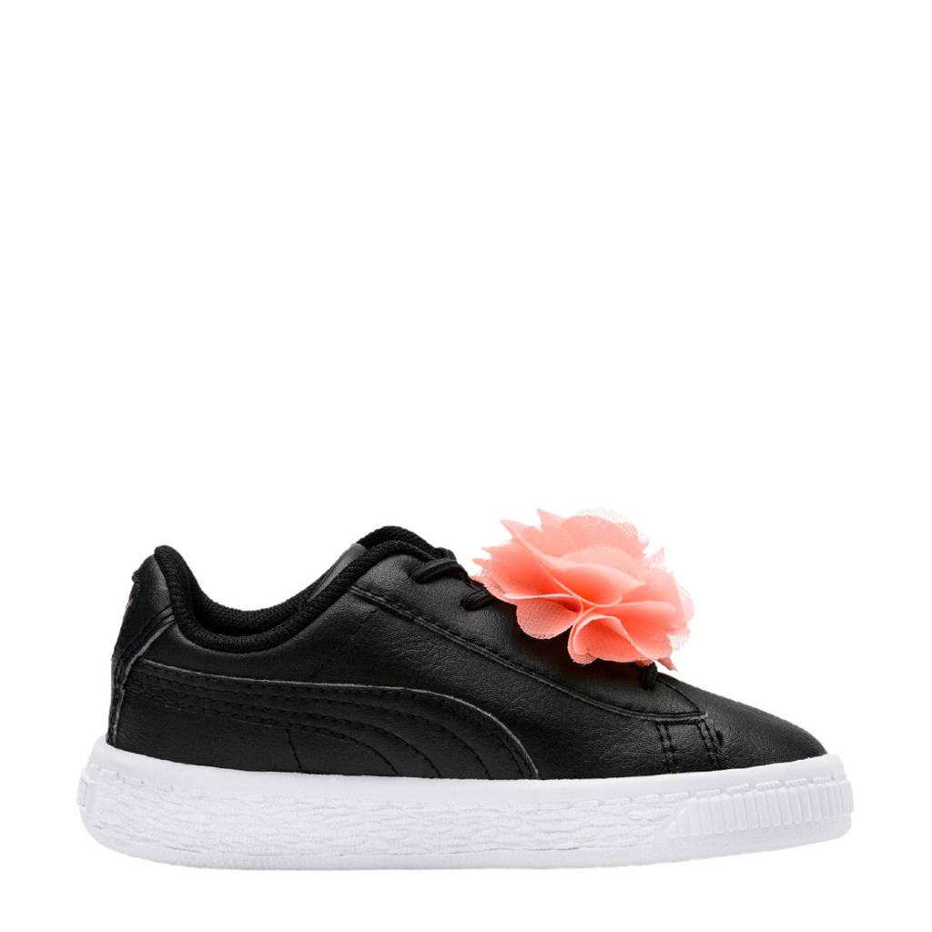 Puma  Basket Flower AC Inf sneakers zwart, Zwart/wit/roze