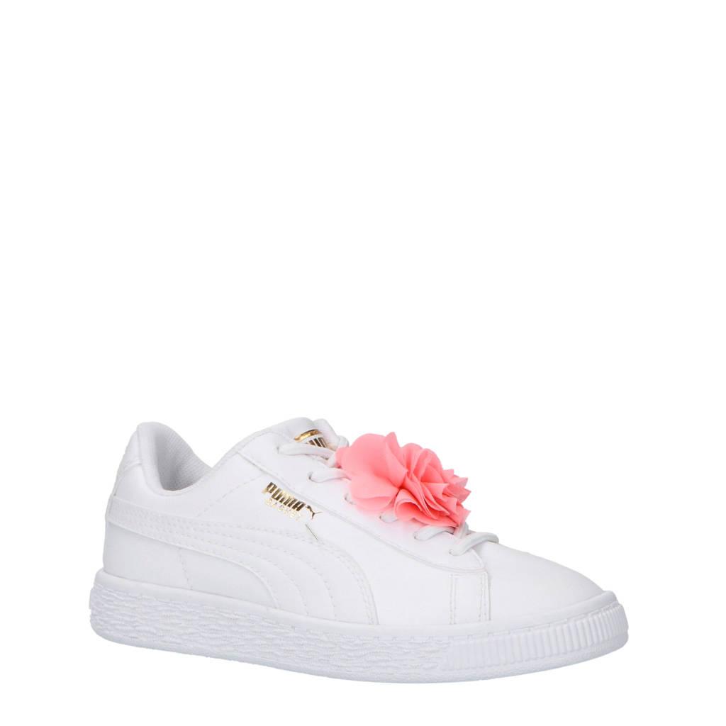 06215467790 Puma Basket Flower AC PS sneakers wit, Wit/roze