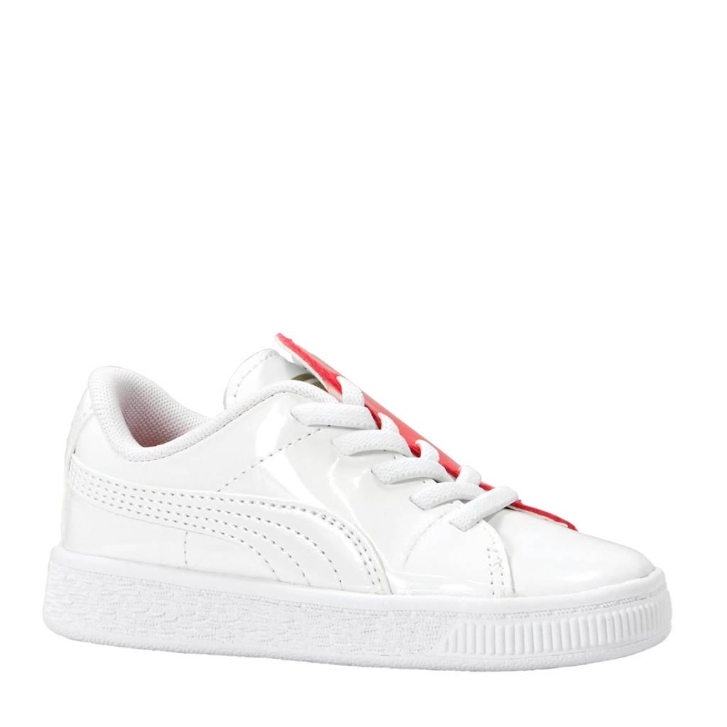Puma  Basket Crush Patent sneakers wit/roze, Wit/roze