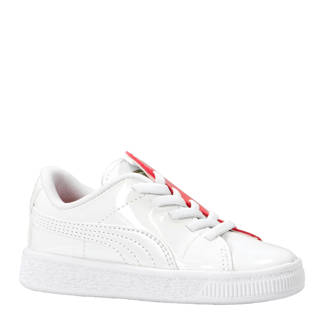 Basket Crush Patent sneakers wit/roze