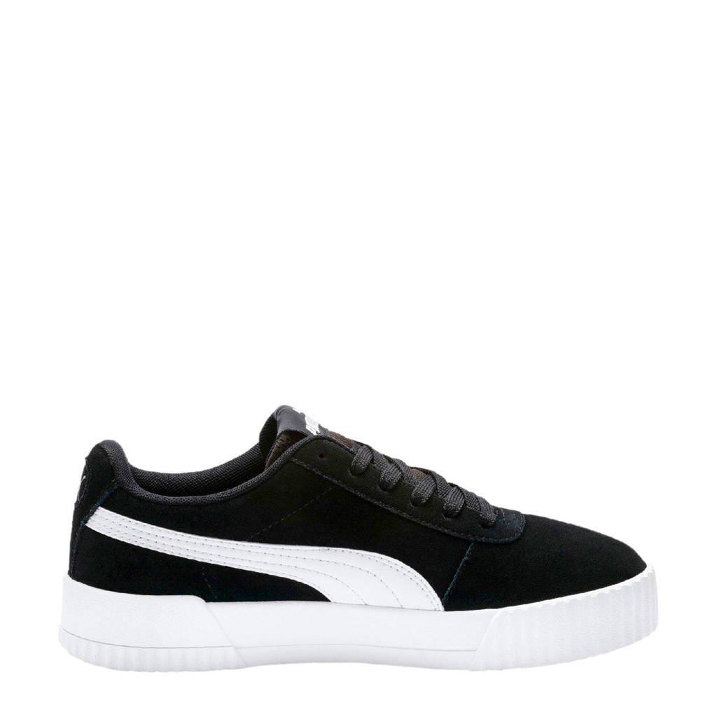 Puma   Carina suède sneakers zwart, Zwart/wit
