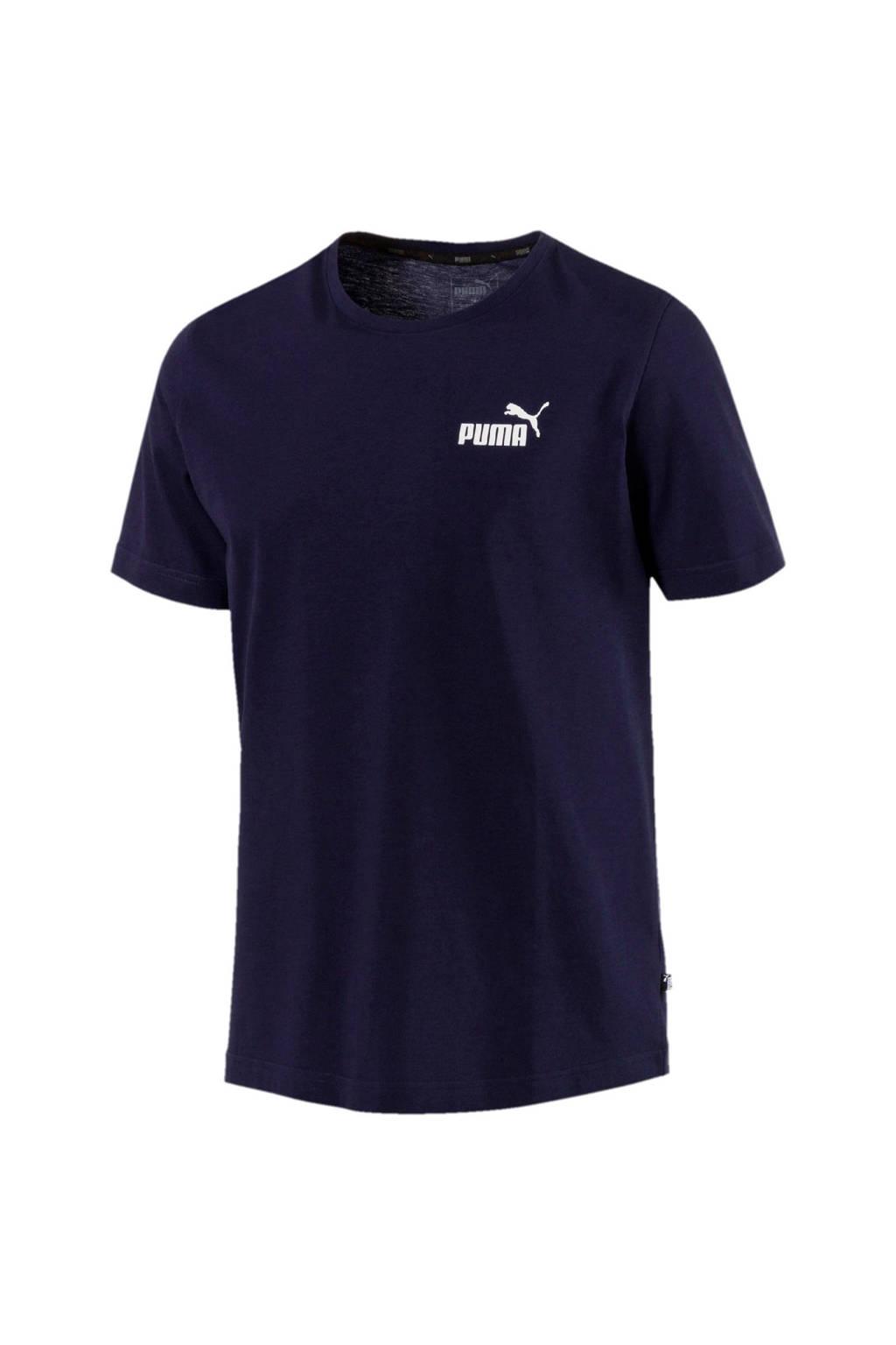 Puma   T-shirt donkerblauw, Donkerblauw/wit